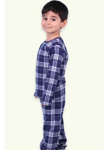 Breeze Erkek Çocuk Pijama Takımı Ekoseli Lacivert (2-4 Yaş) Lacivert